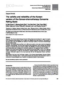 The validity and reliability of the Korean version of ... - Oxford Journals
