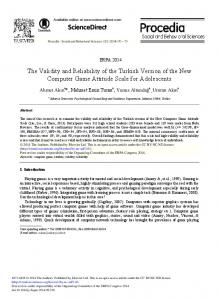 The Validity and Reliability of the Turkish Version of ... - ScienceDirect