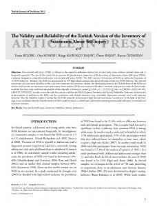 The Validity and Reliability of the Turkish Version of the Inventory of