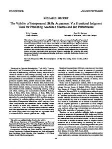 The Validity of Interpersonal Skills Assessment Via Situational ... - UGent