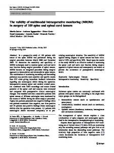 The validity of multimodal intraoperative monitoring (MIOM) in surgery ...