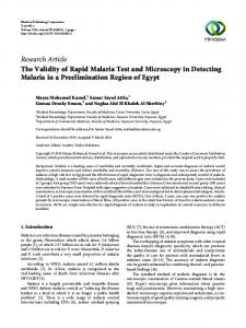 The Validity of Rapid Malaria Test and Microscopy in Detecting ...