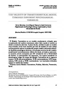 The VALidiTy Of TRAnSTheOReTicAL mOdeL ThROuGh diffeRenT ...