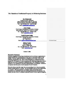 The Valuation of Intellectual Property in Offshoring Decisions