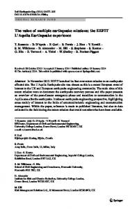 The value of multiple earthquake missions: the EEFIT L'Aquila ...