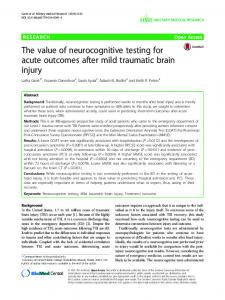 The value of neurocognitive testing for acute outcomes after mild ...
