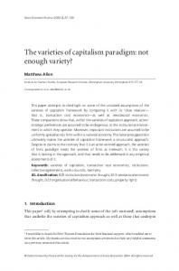 The varieties of capitalism paradigm: not enough ... - Oxford Journals