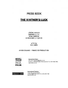 The Vintner's Luck Press Kit - New Zealand Film Commission