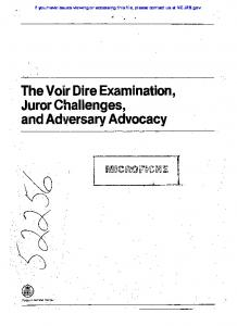 The Voir Dire Examination, Juror Challenges, and Adt/ersary ...