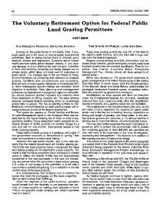 The Voluntary Retirement Option for Federal Public Land Grazing ...