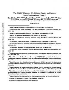 The WARPS Survey: VI. Galaxy Cluster and Source Identifications ...