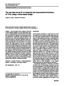 The way that you do it? An elaborate test of procedural ... - Springer Link