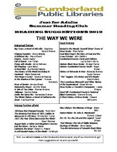 THE WAY WE WERE - Cumberland Public Libraries