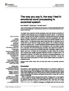 The way you say it, the way I feel it: emotional word processing ... - Core