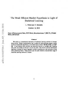 The Weak Efficient Market Hypothesis in Light of ...