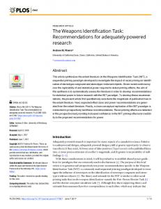 The Weapons Identification Task: Recommendations for ... - PLOS