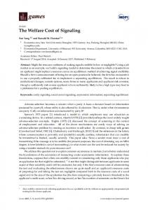 The Welfare Cost of Signaling - MDPI
