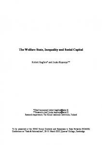 The Welfare State, Inequality and Social Capital - University of Kent