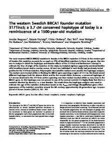 The western Swedish BRCA1 founder mutation 3171ins5; a ... - Nature