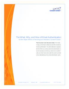 The What, Why, and How of Email Authentication