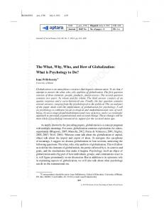 The What, Why, Who, and How of Globalization