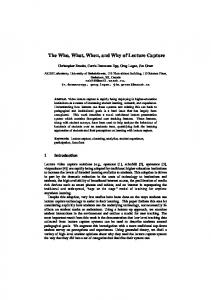 The Who, What, When, and Why of Lecture Capture - Semantic Scholar