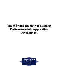 The Why and the How of Building Performance into Application ...
