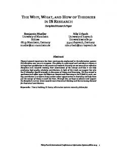 the why, what, and how of theories in isresearch