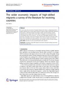 The wider economic impacts of high-skilled migrants - Semantic Scholar