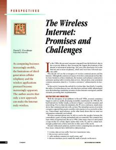 The wireless internet: promises and challenges - Computer