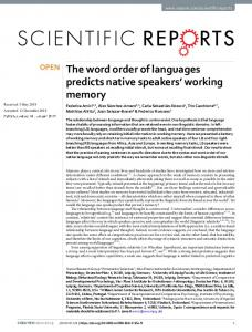 The word order of languages predicts native speakers