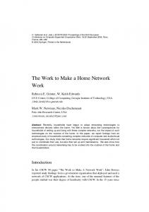 The Work to Make a Home Network Work - ecscw