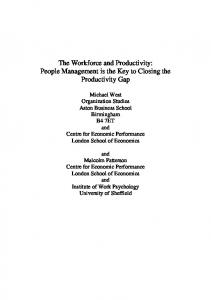 The workforce and productivity - Aston OD