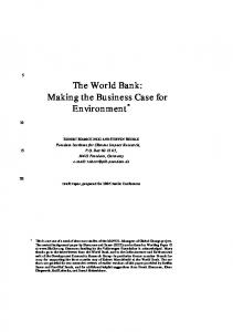 The World Bank: Making the Business Case for Environment - Userpage