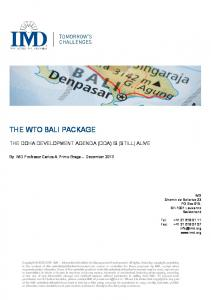 the wto bali package - IMD