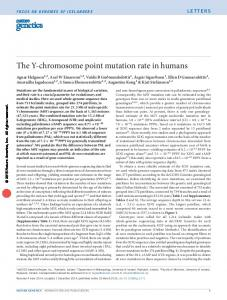 The Y-chromosome point mutation rate in humans - Semantic Scholar