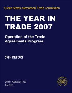 THE YEAR IN TRADE 2007 - USITC