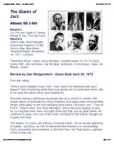 Thelonious Monk - Review - 'The Giants of Jazz' - Bjbear71.com