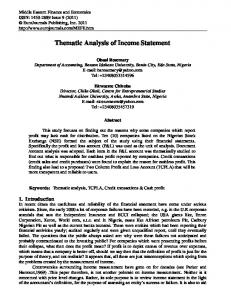 Thematic Analysis of Income Statement