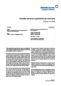 Thematic series on supramolecular chemistry - Beilstein Journal