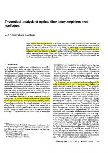 Theoretical analysis of optical fiber laser amplifiers and oscillators