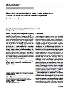 Theoretical and methodological issues related to long term creative ...