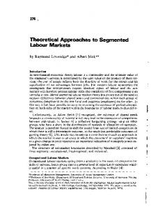 Theoretical Approaches to Segmented Labour Markets. - Free