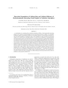 Theoretical Formulation of Collision Rate and Collision Efficiency of ...
