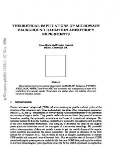Theoretical implications of microwave background radiation