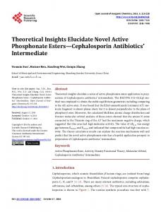Theoretical Insights Elucidate Novel Active Phosphonate Esters ...