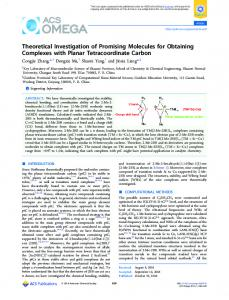 Theoretical Investigation of Promising Molecules ... - ACS Publications