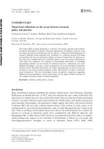 Theoretical reflections on the nexus between research, policy and ...