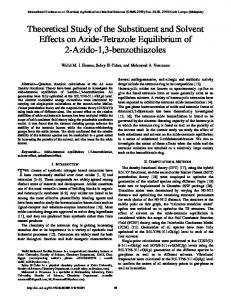 Theoretical Study of the Substituent and Solvent Effects on Azide ...