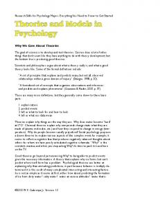 Theories and Models in Psychology